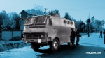 A land mine protected vehicle in South Kashmir. (Photo: The Quint/Poonam Agarwal)