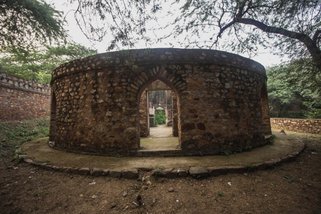 This beautiful construction is now covered with unwanted plants and moss. (Photo: Abhilash Mallick/<b>The Quint)</b>