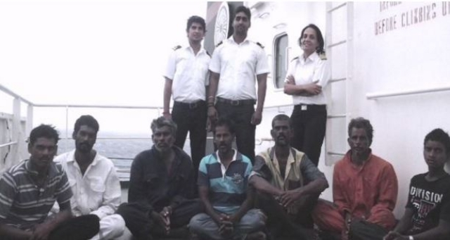 "The seven fisherman onboard Sampurna Swarajya vessel after being rescued. (Photo Courtesy: <a href=""http://www.shipindia.com/home.aspx"">The Shipping Corporation of India</a>)"