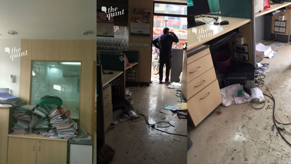 A bunch of goons attacked the Subzi Mandi branch of the IDBI bank on Saturday morning. (Photo Courtesy: Daljit Kaur)