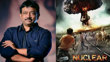 Ram Gopal Varma and the poster of his planned film <i>Nuclear. </i>(Photo courtesy: Facebook)