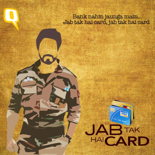 <i>Bank nahi jaunga main... Jab tak hai</i> card. (Photo: Divya Talwar/The Quint)