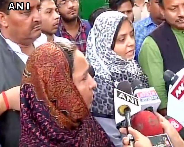 Najeeb's mother and sister went to meet Home Minister Rajnath Singh. (Photo: ANI)