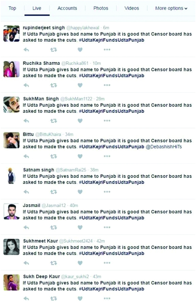 "Multiple accounts posting the same content. (Photo Courtesy: <a href=""http://www.dailyo.in/politics/bjp-modi-bhakts-social-media-trolls-aap-kejriwal-thailand/story/1/11324.html"">DailyO</a>)"