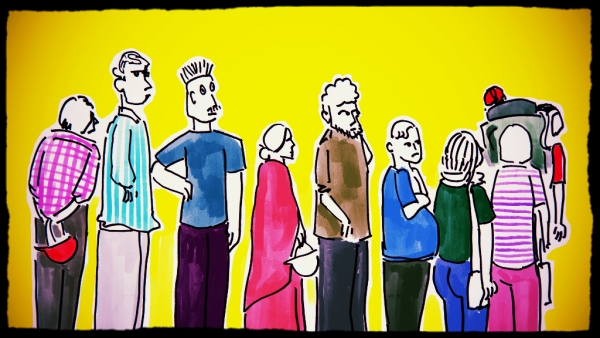 The motley crowd outside the ATM queue (Illustration: <b>The Quint</b>/ Susnata Paul)