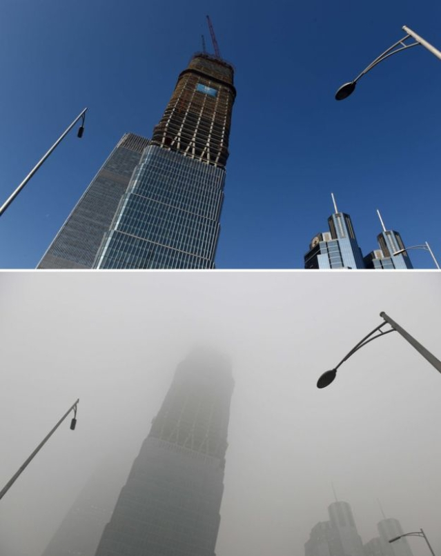 Picture taken in Beijing on the same spot on 3 December 2015. An independent research by Berkeley Earth concluded that in 2015, there was an 8 percent decrease in toxic smog across most of China, though the group cautioned that it was too early to call it a definitive trend. (Photo: AP)