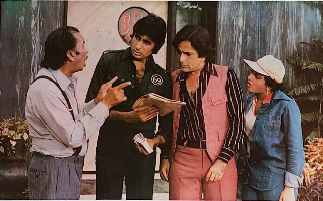 Johnny Walker with Amitabh Bachchan, Shashi Kapoor and Bindya Goswami in a still from <i>Shaan</i>.