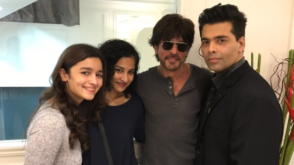 Alia Bhatt, Gauri Shinde, Shah Rukh Khan and Karan Johar - the team behind <i>Dear Zindagi. </i>(Photo courtesy: Twitter)