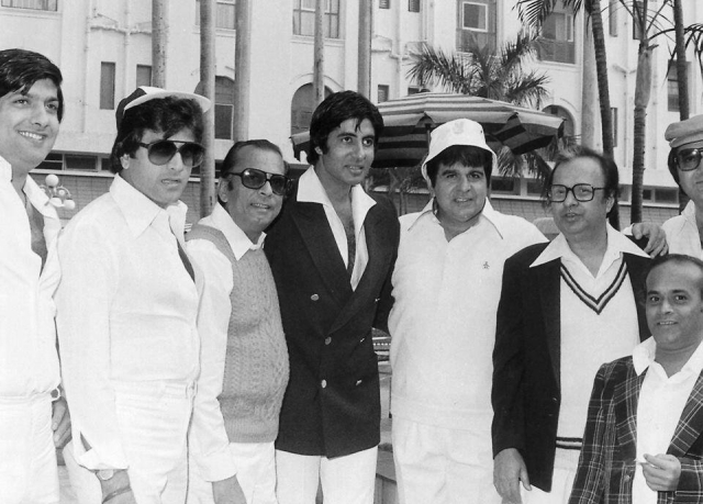 "(Third from left) Johnny Walker  with (from left) Anil Dhawan, Jeetendra, Amitabh Bachchan, Dilip Kumar, Anil Chatterjee, Rabi Ghosh and Prem Chopra at a charity cricket match at Eden Gardens in 1979. (Photo courtesy: <a href=""https://www.facebook.com/photo.php?fbid=1661680557418354&set=a.1470622189857526.1073741829.100007292772099&type=3&theater"">Facebook/sanmoybanerjee</a>)"