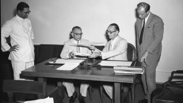 Indian bureaucrat-turned-politician HM Patel (seated, left), who was Finance Minister during the first demonetisation in 1978, seen here as Union Finance Secretary in the mid-1950s. (Photo: IANS)