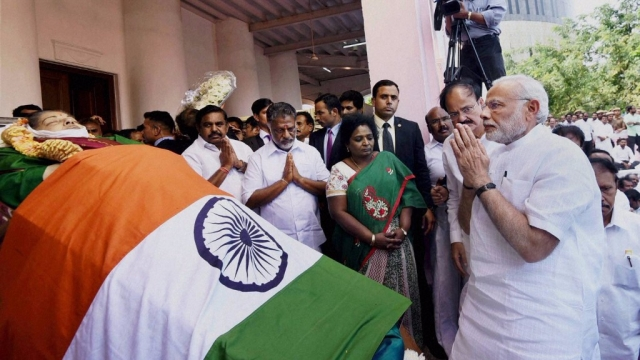 Prime Minister Narendra Modi pays his last respects to Tamil Nadu's late  Chief Minister J  Jayalalithaa at Rajaji Hall in Chennai on Tuesday. (Photo: PTI)