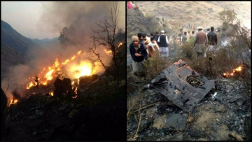 Crash site of PIA aircraft ATR- 42 in Abbottabad, Pakistan on Wednesday, 7 December 2016. (Photo altered by <b>The Quint</b>)
