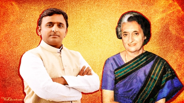 Akhilesh's moral victory in the family feud resembles Indira's fight against the Congress stalwarts. (Photo: Lijumol Joseph/ <b>The Quint</b>)