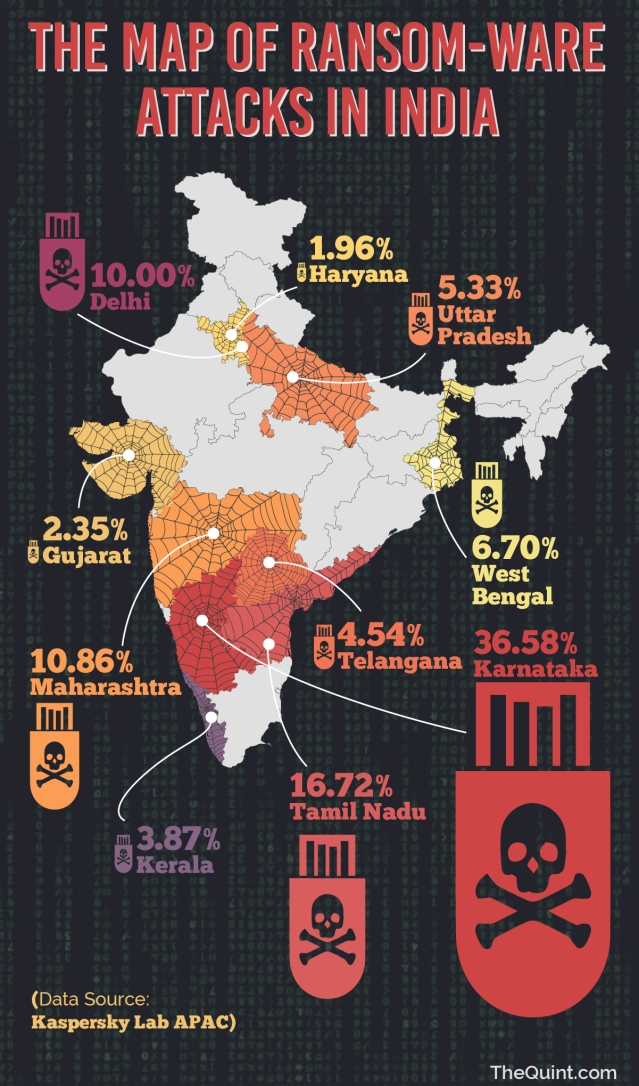 A map showing the distribution of ransomware attacks in India. (Photo: Harsh Sahani/<b>The Quint</b>)