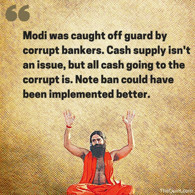 Ramdev criticises Modi's demonetisation scheme. (Photo: Abhilash Mallick/<b>The Quint</b>)