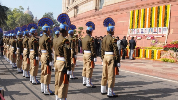 Security personnel pay homage to the martyrs of the 2001 Parliament attack, at Parliament building.