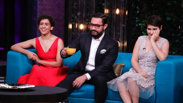 Sanya Malhotra, Aamir Khan and Fatima Sana Shaikh chat with Karan Johar on Koffee With Karan. (Photo courtesy: Star World HD)