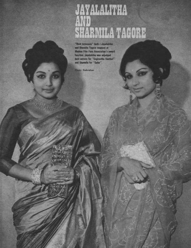 Jayalalithaa and Sharmila Tagore. (Photo courtesy: Pinterest)