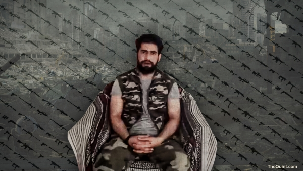 Zakir Musa has threatened supporters of panchayat elections in the new video. (Photo: <b>The Quint</b>)