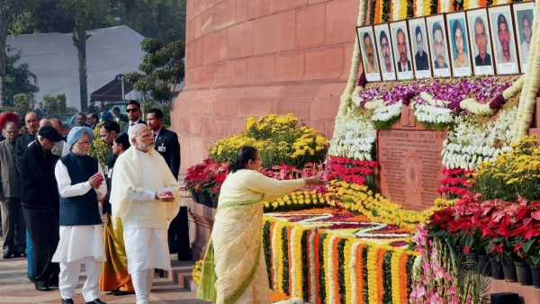PM Modi paid tributes to the martyrs of the 2001 attack on Parliament.