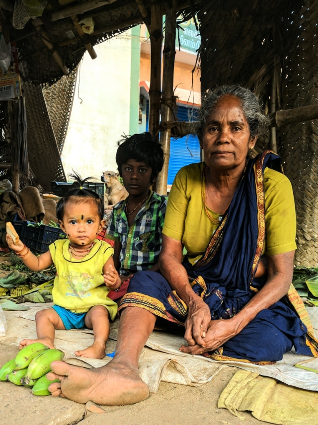 Mookkayi Paati, with her grandchildren at Alanganallur. (Photo: Vikram Venkateswaran)