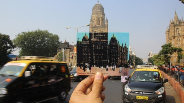 The current BMC building juxtaposed with a time when walking was still the norm in Bombay. (Photo Courtesy: Yuvraj Khanna)