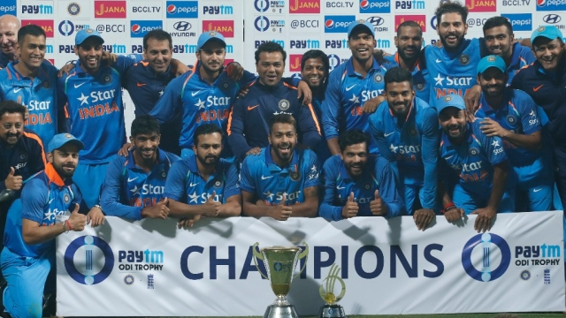 File photo of Indian team with trophy after winning the series after their third one day international cricket match against England at Eden Gardens in Kolkata. Image used for representation.