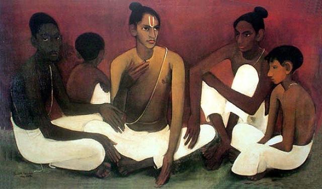 "Sher-Gil work titled ""Brahmacharis""."