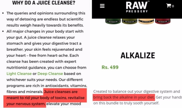 "The products using scientific terms like 'rid your body of toxins' for their ads. (Photo Courtesy: <a href=""https://www.rawpressery.com/"">Raw Pressery Website</a>)"