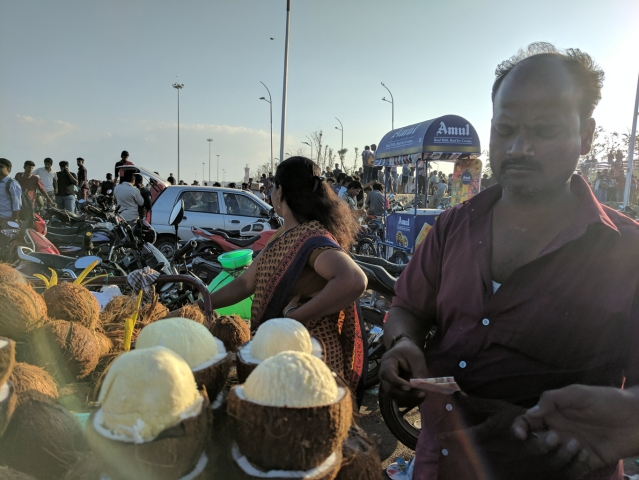 Krishnan, at the Chennai Marina Beach, handling brusque business. (Photo: Vikram Venkateswaran)