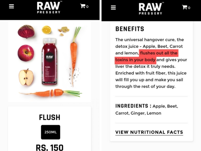 "The products using scientific terms like 'flushes out toxins' for their ads. (Photo Courtesy: <a href=""https://www.rawpressery.com/"">Raw Pressery Website</a>)"