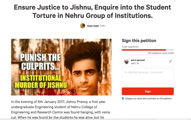 "The state government has constituted a panel under the Education Minister to look into the conditions at self-financing colleges. (Photo Courtesy: <a href=""https://www.change.org/p/chief-minister-of-kerala-ensure-justice-to-jishnu-enquire-into-the-student-torture-in-nehru-group-of-institutions/c/568152206"">Change.org</a>)"