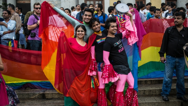 A group of LGBTQ activists posing in front of the pride parade in Bangalore. The image has been used for representational purposes.