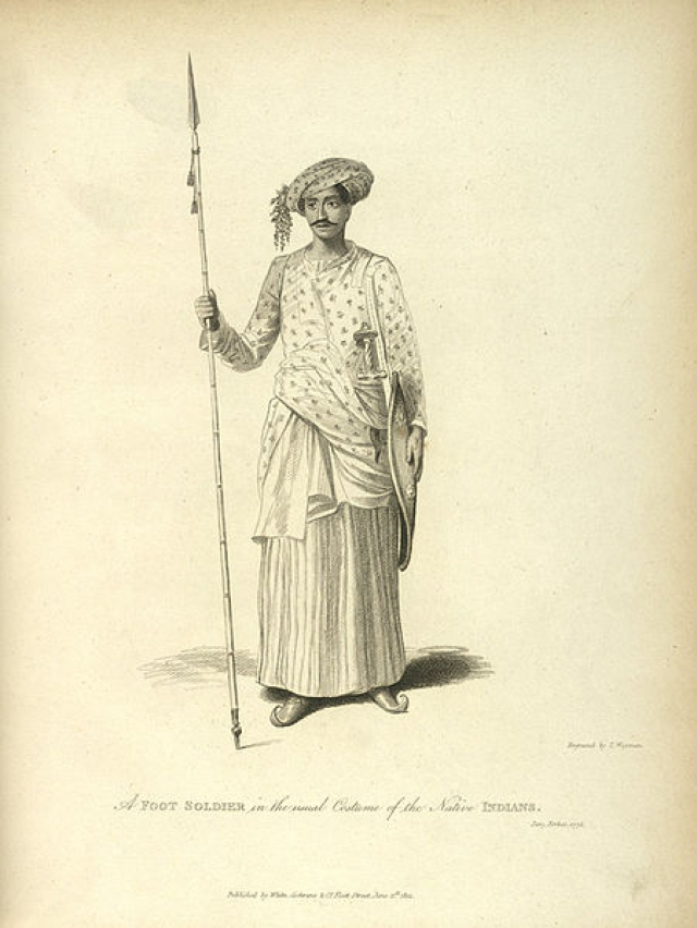 "Sketch of a Maratha soldier from the army that went to fight at Panipat. Chronicles reflect how the thinly clothed soldier suffered in the north's freezing cold. (Photo courtesy: <a href=""http://wikivisually.com/wiki/File:Maratha_Soldier.jpg"">Wikipedia)</a>"