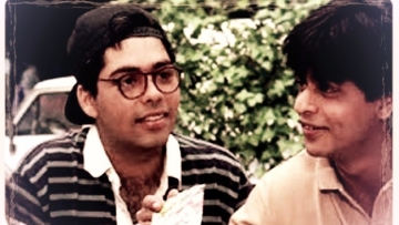 Karan Johar and Shah Rukh Khan in a scene from <i>DDLJ.</i> (Photo courtesy: Dharma Productions)