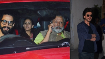 Shahid and Mira along with Pankaj Kapoor; Shah Rukh Khan spotted in the city. (Photo: Yogen Shah)