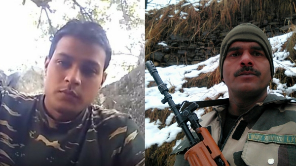 CRPF personnel and BSF jawan talk about lack of facilities in two different videos that went viral. (Photo: ANI screengrabs, Image altered by The Quint)