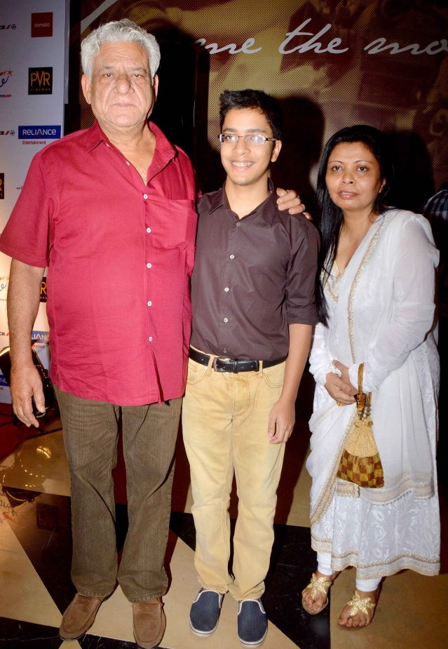 Om Puri with his ex-wife Nandita and son Ishaan. (Photo: Yogen Shah)