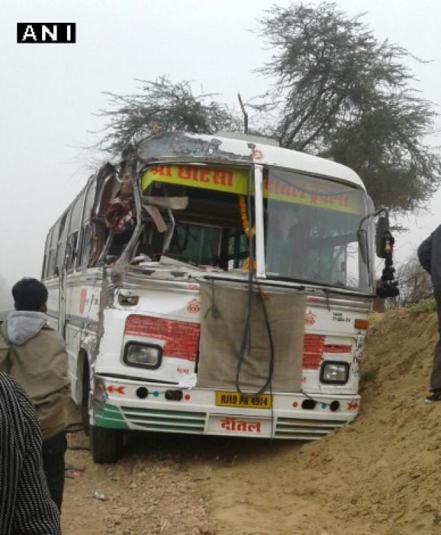 The bus accident happened in Etah, Uttar Pradesh. (Photo: ANI)