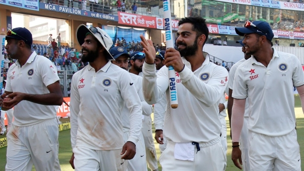 The Indian team take a lap of honour after beating England 4-0 in the five-match Test series last year. (Photo: BCCI)
