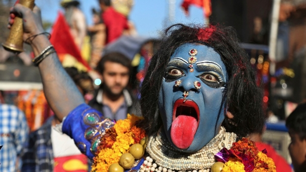 Jammu: A devotee dressed as Hindu goddess Kali participates in a procession on the eve of Shivratri festival. (Photo AP)
