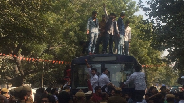 The police's actions were so ineffective that the ABVP members got on top of police buses and abused protesters. (Photo: Revathi Krishnan)