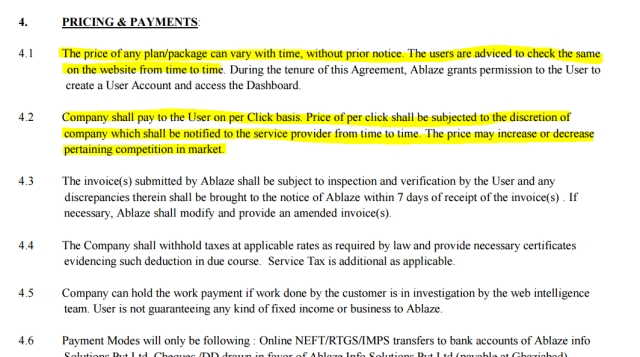 Screenshot of the Service Agreement. (Photo: The Quint)