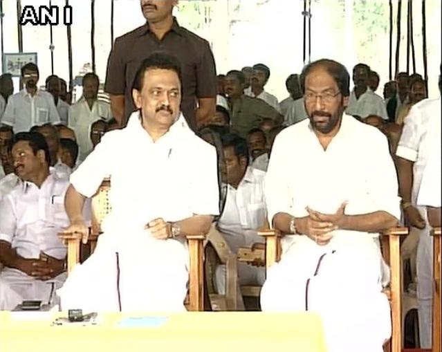 MK Stalin at the hunger protest in Tamil Nadu. (Photo: ANI Screenshot)