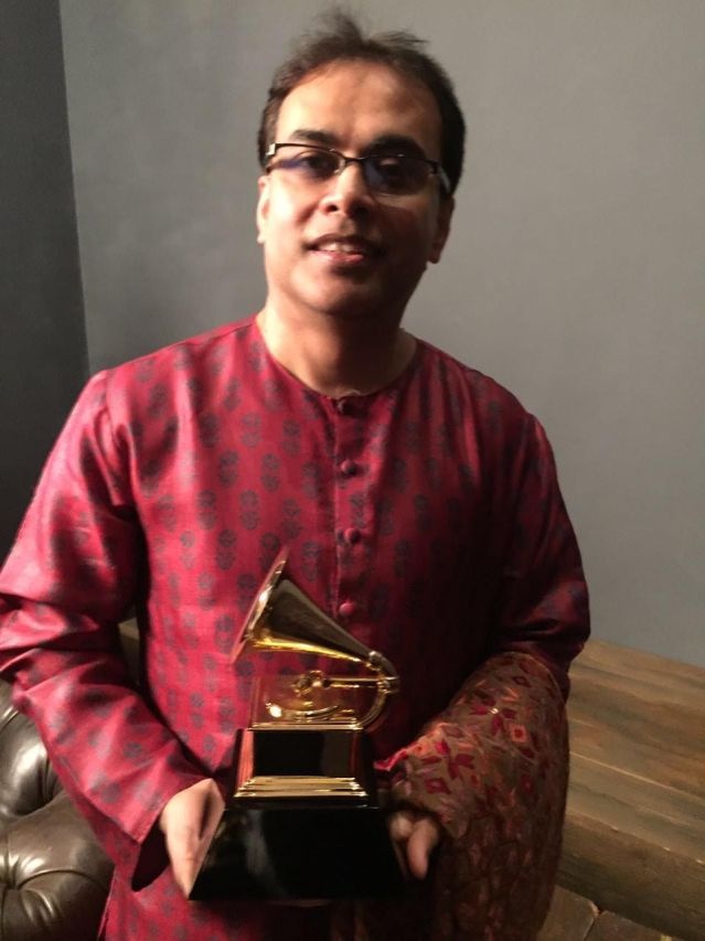 Sandeep Das with his Grammys. (Photo Courtesy: Subhash Jha)