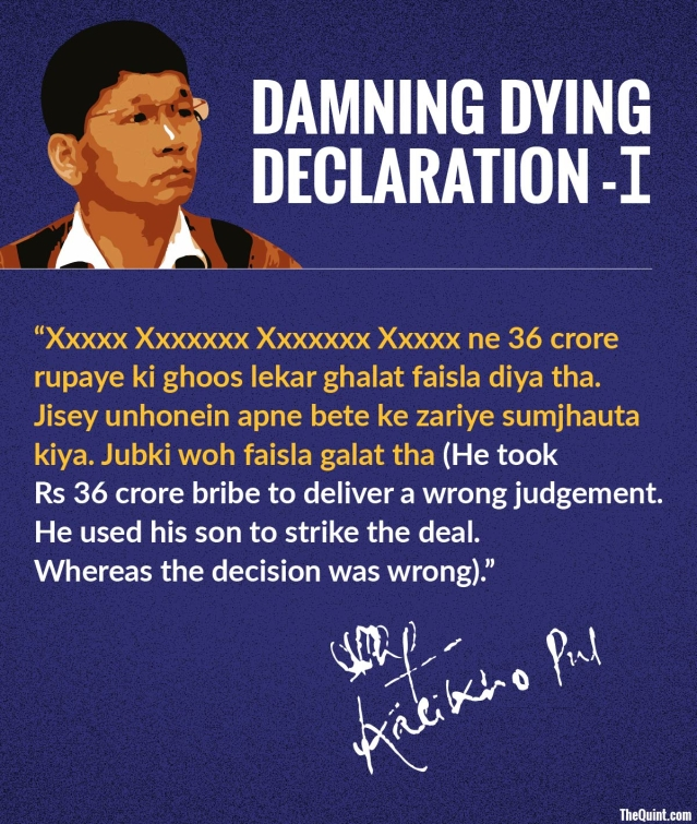 Excerpts from Arunachal Pradesh's late Chief Minister Kalikho Pul's 60-page suicide note. (Infographic: Harsh Sahani/ <b>The Quint</b>)