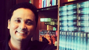 Amish Tripathi with his books.