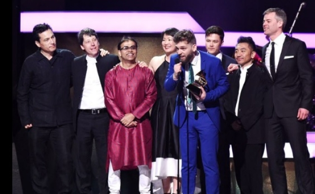 Sandeep Das on stage at Grammys. (Photo Courtesy: Twitter)