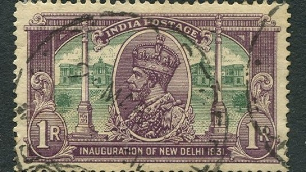 "The 1931 series celebrated the inauguration of New Delhi as the seat of government. The one rupee stamp shows George V with the ""Secretariat Building"" and Dominion Columns. (Photo Courtesy: <a href=""https://en.wikipedia.org/wiki/New_Delhi#/media/File:Inauguration_of_New_Delhi_1931.jpg"">Wikimedia</a>)"