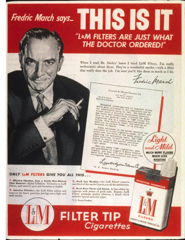 "Actor Fredric March in an advertisement for L&M Filters.  (Photo Courtesy: US <a href=""https://www.ncbi.nlm.nih.gov/pmc/articles/PMC1470496/figure/f6/"">National Library of Medicine</a>)"